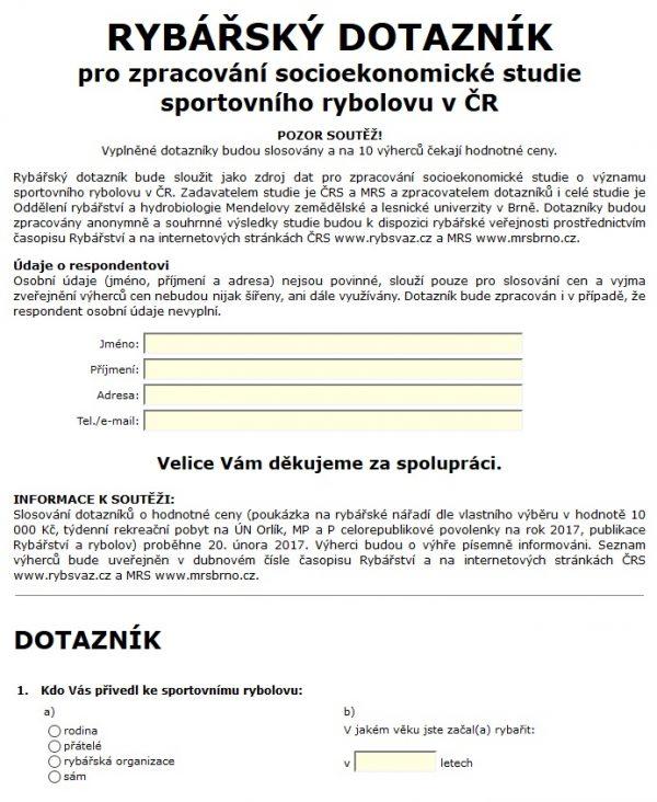 RYBÁŘSKÝ DOTAZNÍK pro zpracování socioekonomické studie sportovního rybolovu v ČR