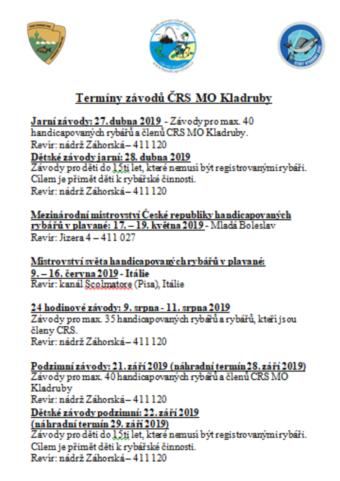 Tenínový kalendář ČRS MO Kladruby 2019
