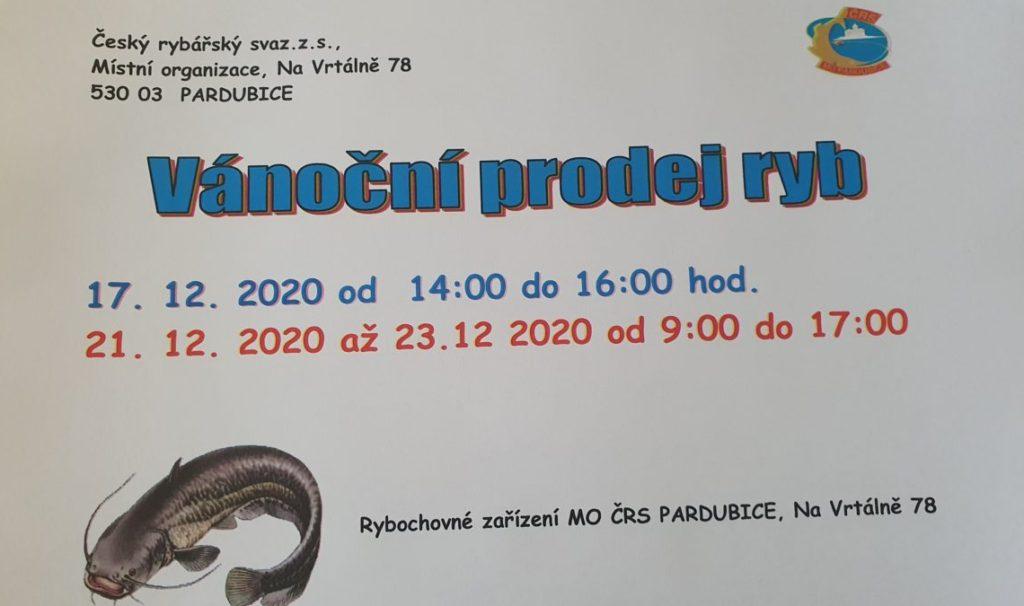 Vánoční prodej ryb MO ČRS Pardubice, z.s.,
