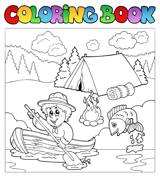 Dětská zábava: Coloring book with scout in boat - vector illustration.
