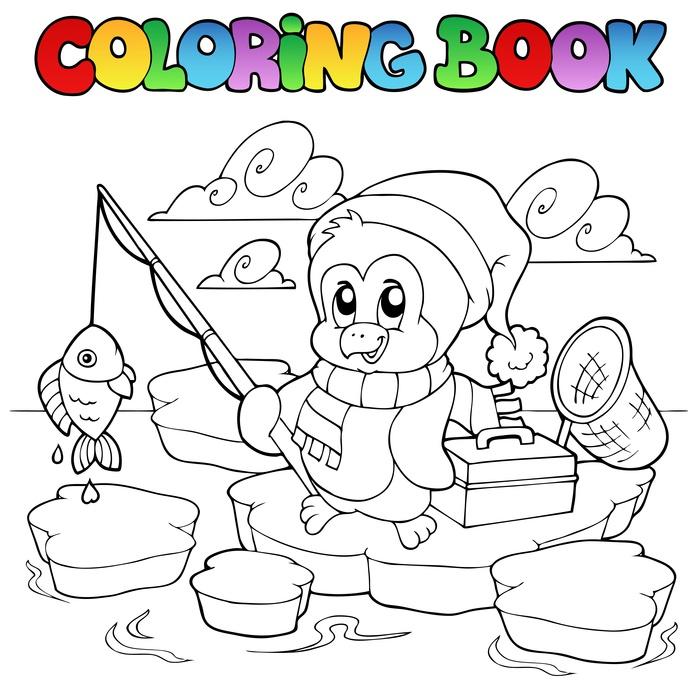 Dětská zábava: Coloring book fishing penguin - vector illustration.