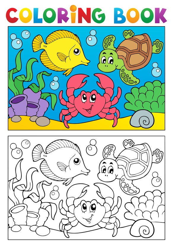 Dětská zábava: Coloring book with marine animals 5 - vector illustration.
