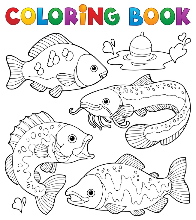 Dětská zábava: Coloring book freshwater fishes 1 - vector illustration.