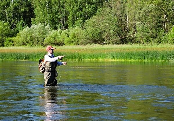 Rybář v akci, chytání na mušku