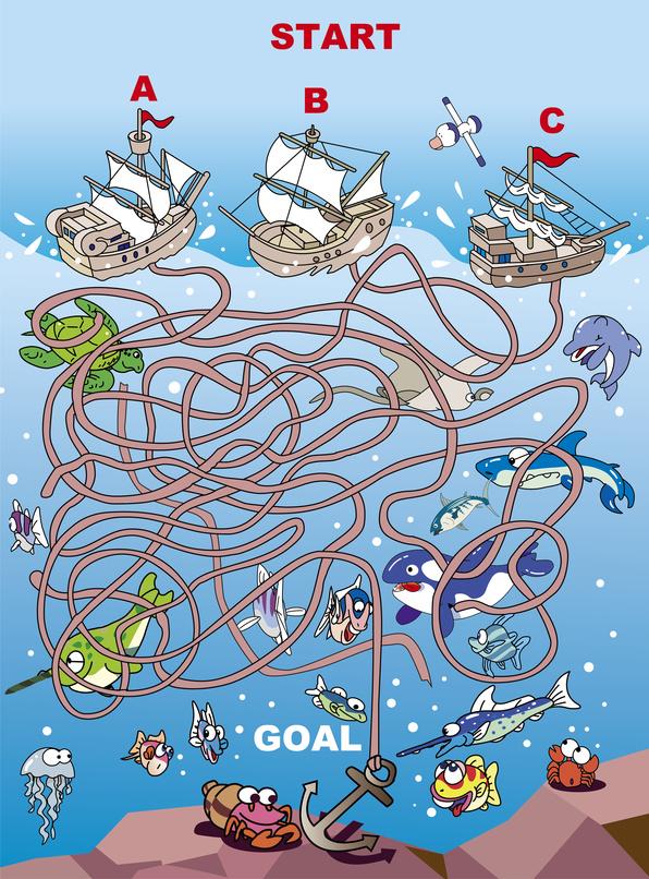 Dětská zábava: Lodě - bludiště