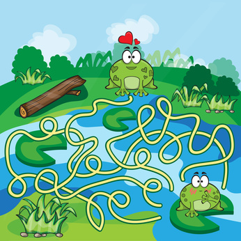 Dětská zábava: Frogs Maze Game - help the Frog to find his way - vector