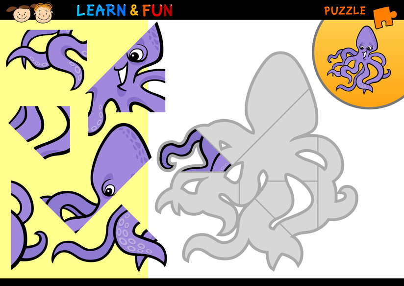 Dětská zábava: Puzzle - chobotnice