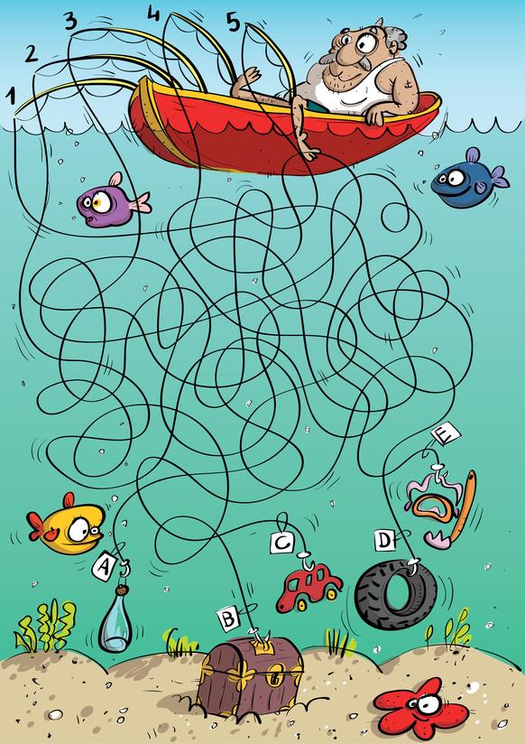 Dětská zábava: Chytání ryb - bludiště