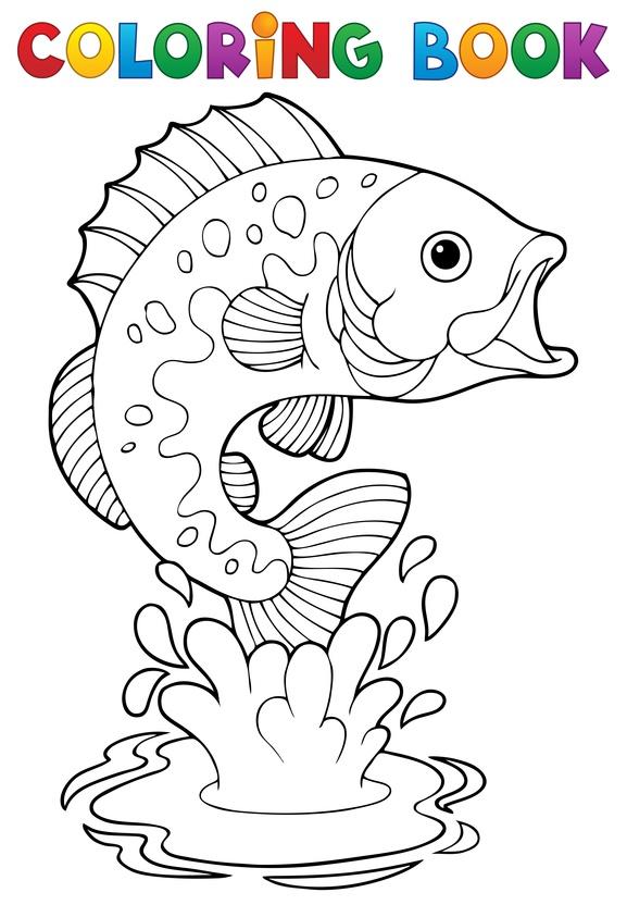 Dětská zábava: Coloring book freshwater fishes 2 - vector illustration.