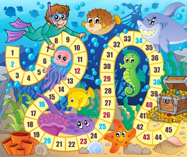 Dětská zábava: Board game image with underwater theme 2 - eps10 vector illustration.