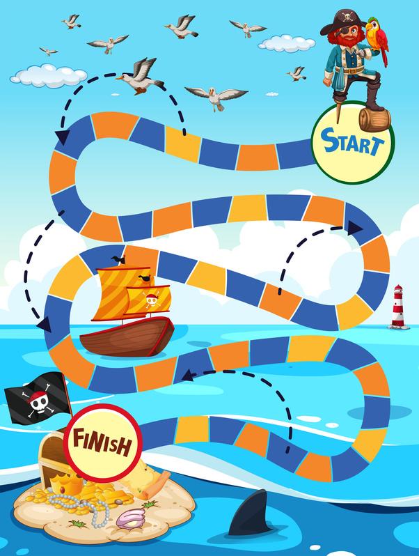 Dětská zábava: Stolní hra s kostkou - pirátský poklad