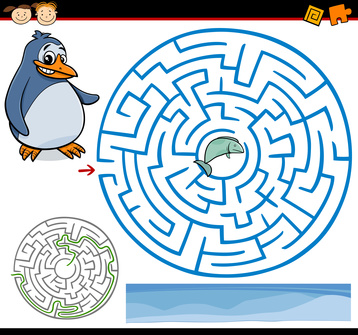 Dětská zábava: Cartoon Illustration of Education Maze or Labyrinth Game for Preschool Children with Funny Penguin and Fish