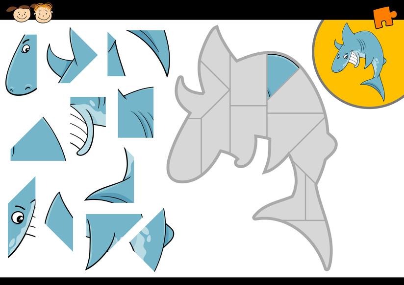 Dětská zábava: Puzzle - žralok