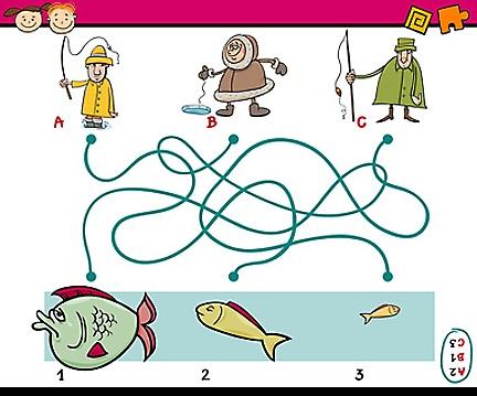 Dětská zábava: Který rybář chytne jakou rybku?