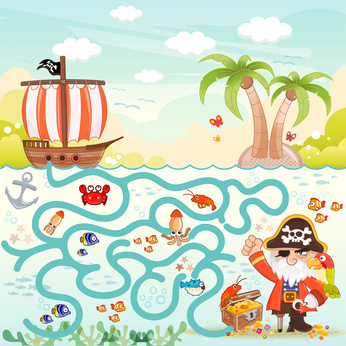 Dětská zábava: Pirates and treasure box maze game for children. Help the three pirates find the way to the treasure box. Eps file available.