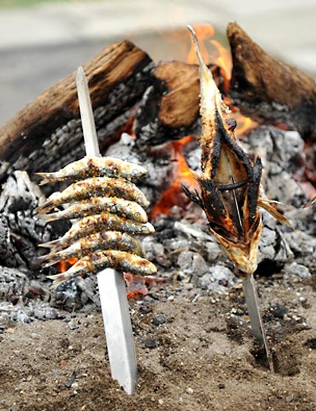 Ryby pečené na klacku na kraji ohně