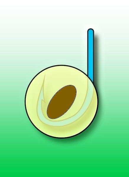 Háček umístěný ve třešni nebo višni.
