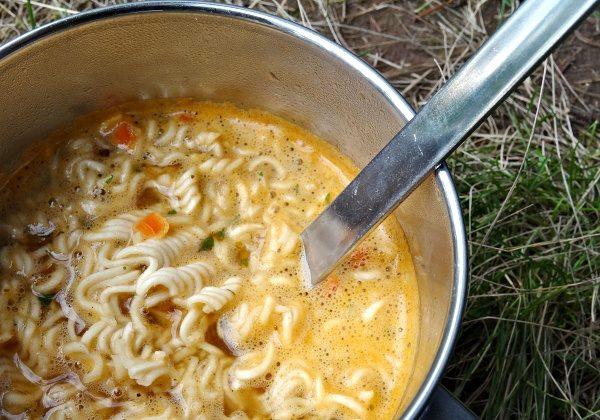 Instantní polévka z pytlíku, dochucená kořením se dá jíst :)