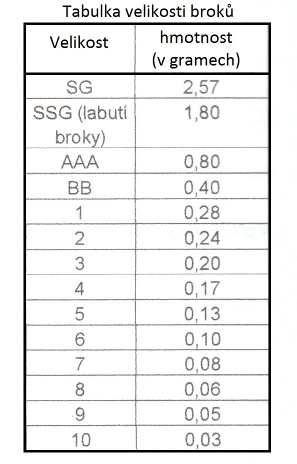 Tabulka velikosti broků
