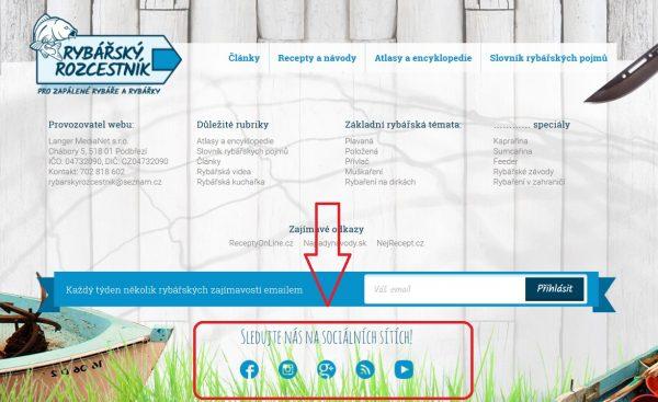 Loga - vstupy do sociálních sítí na stránky webu